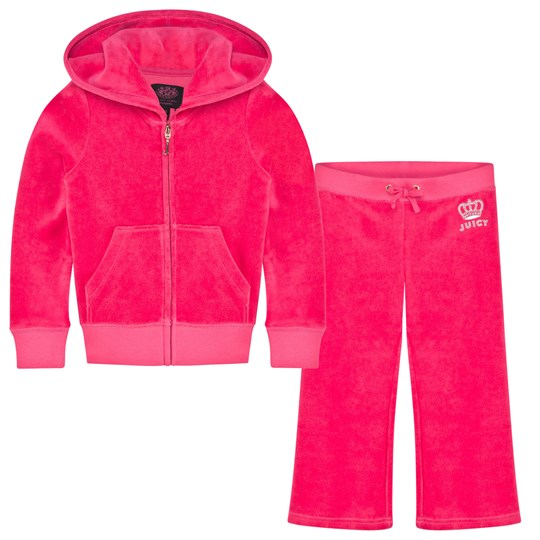 Juicy Couture Hot Pink Diamante Logo & Crown Tracksuit Cerise