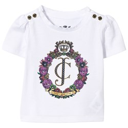 Juicy Couture White Floral Crest Tee