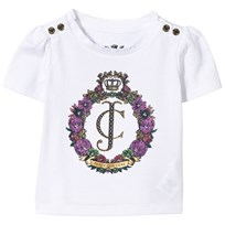 Juicy Couture White Floral Crest Tee White