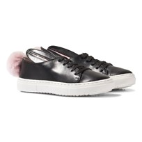 Minna Parikka Black Leather Faux Fur Bunny Pom Pom Trainers Black Nappa