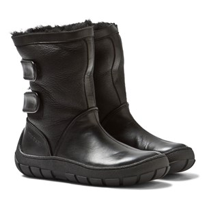 Image of Pom Dapi Black Leather Sheepskin Lined Warm Boots 20 (UK 4) (2844037857)