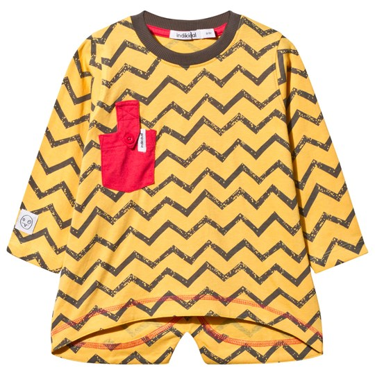 Indikidual Yellow Zig Zag Pocket Dip Hem Tee Yellow