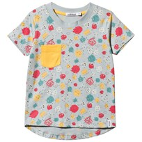 Indikidual Grey Multi Imaginary Friends Tee with Yellow Pocket Grey