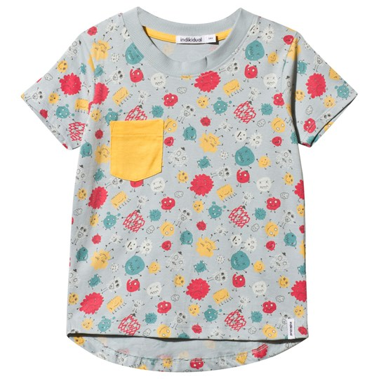 Indikidual Grey Multi Imaginary Friends Tee with Yellow Pocket Black