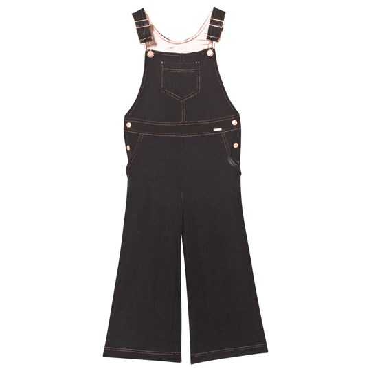 Junior Gaultier Black Velvet Dungarees with Rose Gold Details 02
