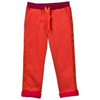Coral Track Pants with Contrast Turn-Ups