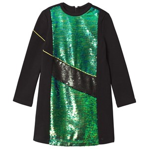 Image of Kenzo Black and Green Sequin Front Milano Dress 14 years (2743760639)