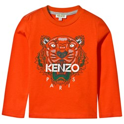 Kenzo Orange Tiger Print Long Sleeve Tee