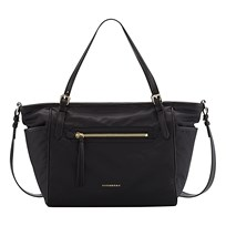 Burberry Leather Trim Baby Changing Tote Bag Black Black
