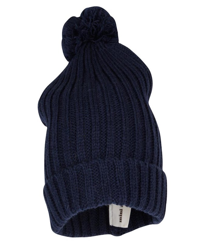 Knitted Hat With Ball Dark Blu