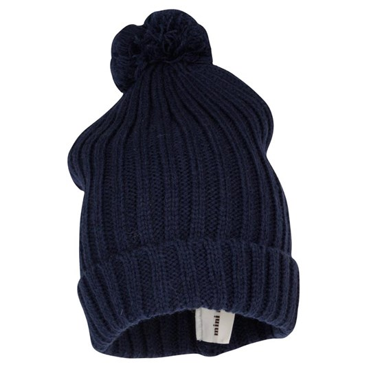Mini Rodini Knitted Hat With Ball Dark Blu Blue