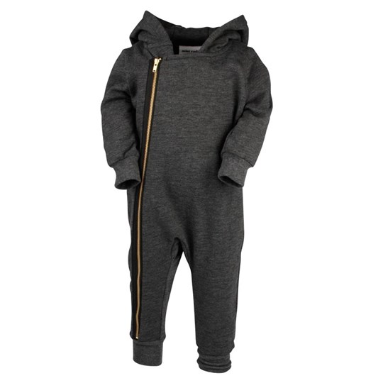 Mini Rodini Biker Onesie Dark Grey Melange Black