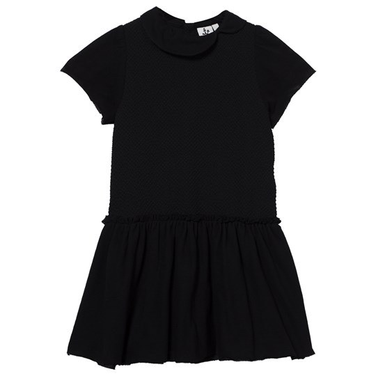Noe & Zoe Berlin Black Knit and Jersey Dress with Collar Black