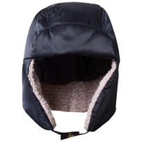 Armani Junior Navy Satin Branded Trapper Hat 06935
