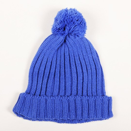 Mini Rodini Knitted Hat With Ball Blue Blue
