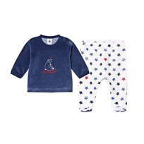 Petit Bateau Navy and Star Pattern Velour Pyjamas Set 11