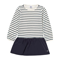 Petit Bateau White and Blue Stripe Jersey and Woven Dress