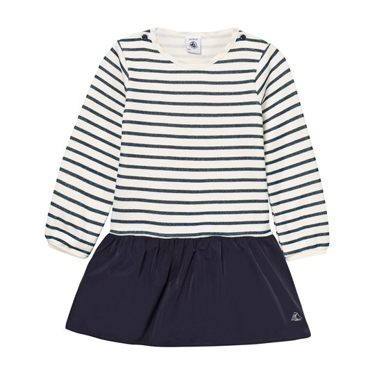 Petit Bateau White and Blue Stripe Jersey and Woven Dress 01