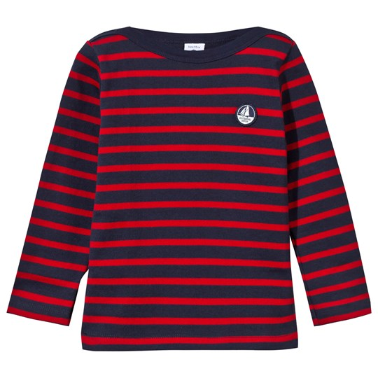 Petit Bateau Navy and Red Stripe Jumper with Logo 99