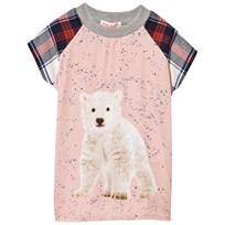 Anne Kurris Pink Polar Bear Print Dress with Tartan Sleeves Ice Cute