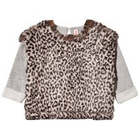 Anne Kurris Grey Sweatshirt with Faux Leopard Fur Leo Grey