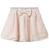 Carrément Beau Cream Lurex Jacquard Skirt with Bow and Tulle Overlay 148
