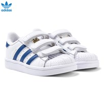 adidas Originals White and Blue Superstar Trainers White