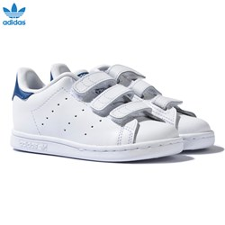 adidas Originals White and Blue Infants Stan Smith Trainers