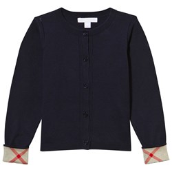 Burberry Navy Cotton Cardigan with Check Trim