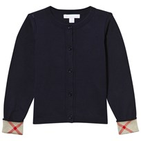 Navy Cotton Cardigan with Check Trim