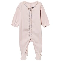 Burberry Pale Pink Babygrow with Check Bow and Trims Powder Pink