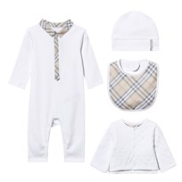 Burberry 4 Piece Footless Babygrow, Quilted Jacket, Hat and Bib Gift Set White