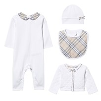 Burberry 4 Piece  Footless Babygrow with Bow, Quilted Jacket, Hat and Bib Gift Set White
