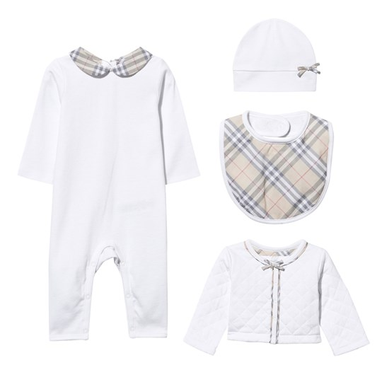Burberry Check Detail Layette Gift Set White