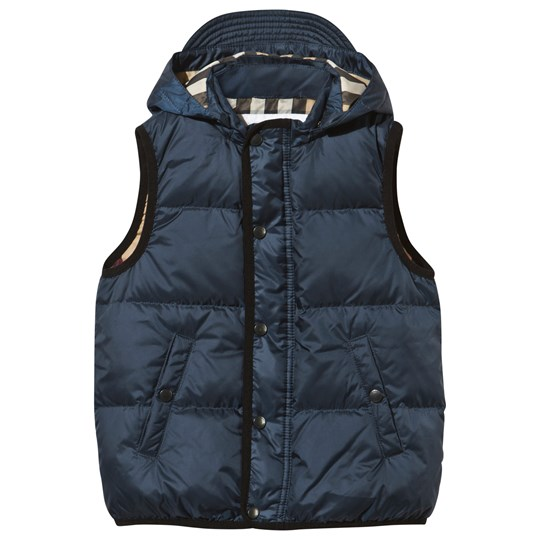 Burberry Ink Blue Hooded Gilet Ink Blue