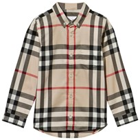 Beige New Classic Check Button Down Shirt