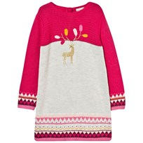 Catimini Fuchsia Knitted Deer Embroidered Dress 35