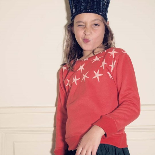 Bobo Choses Sweat Shirt Round Neck Stars Red