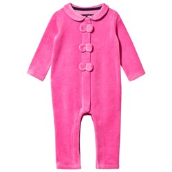 Juicy Couture Pink Glamourous Ring Velour Bow Front Babygrow
