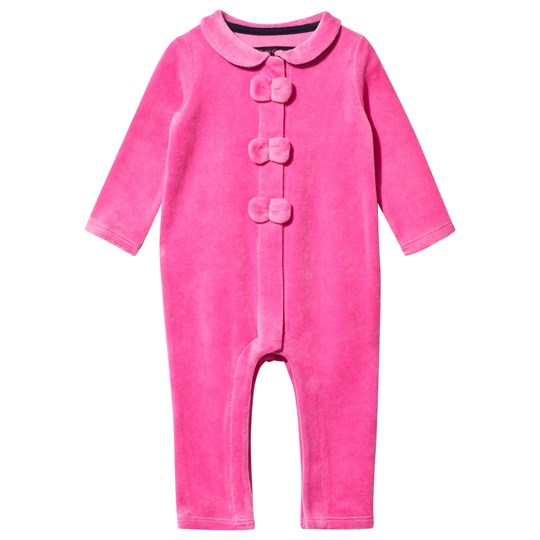 Juicy Couture Pink Glamourous Ring Velour Bow Front Babygrow FRAGRANT ROSE