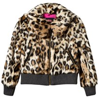 Juicy Couture Faux Leopard Print Bomber Jacket CHEETAH FUR
