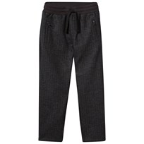 Grey Stripe Wool Trousers with Elasticated Waistband