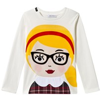 Dolce & Gabbana White Girl with Glasses Applique Tee HW374
