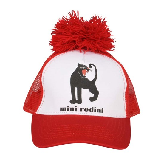 Mini Rodini Panther Cap White/Red Red
