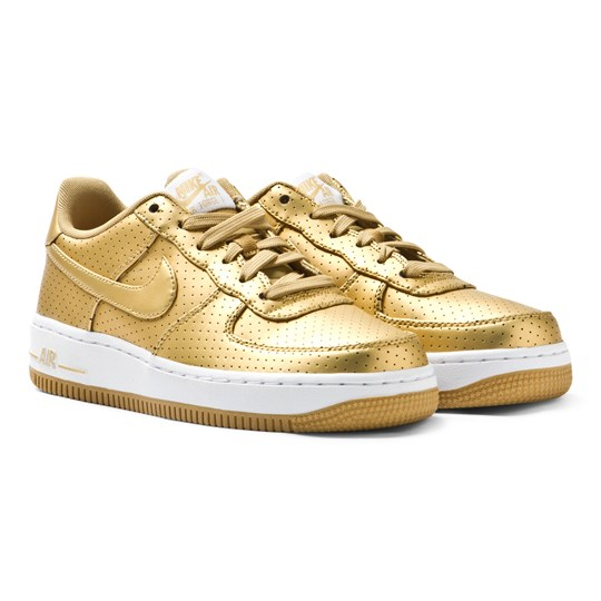 NIKE Metallic Gold Air Force 1 Trainers MTLLC GOLD/MTLLC GLD-SMMT WHT