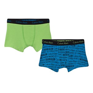 Image of Calvin Klein 2-Pack Green and Blue Printed Trunks 6-7 years (2831876713)