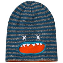 Barts Blue and Grey Stripe Falka Monster Beanie 04 BLUE