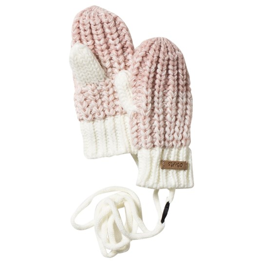 Barts Pink Knitted Stids Mitts 10 CREAM