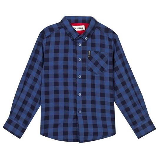 Ben Sherman Blue Herringbone Check Shirt WASHED BLUE