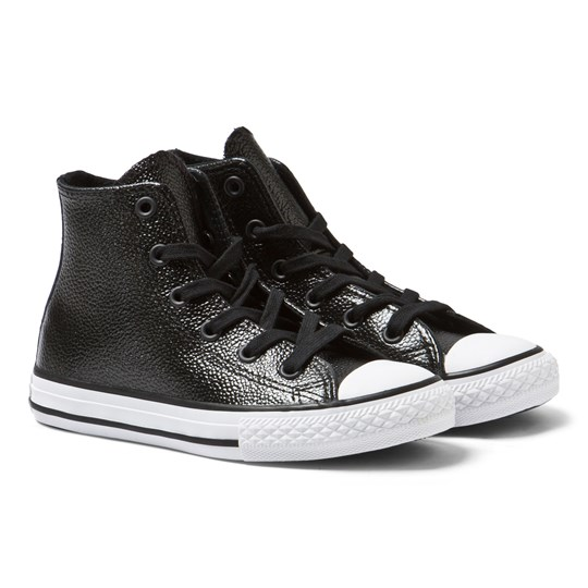 Converse Black Metallic Leather Chuck Taylor All Star Hi Tops BLACK/WHITE/BLACK